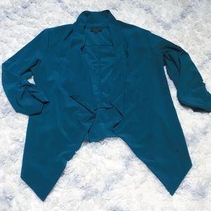 open teal blazer with shoulder pads